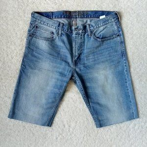 American Eagle Men' s Blue Straight Jean Shorts 34